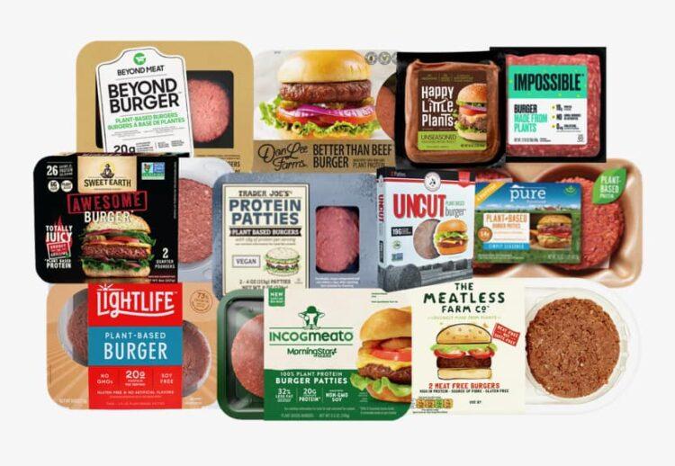 compilation of popular plant-based burger packages
