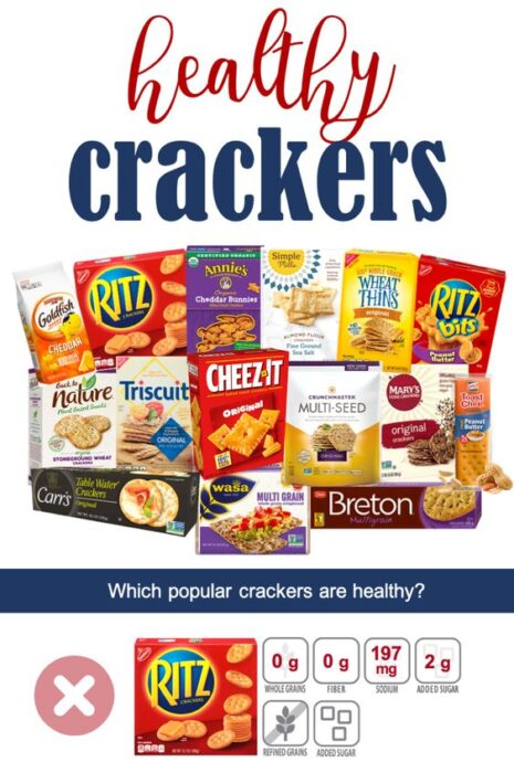 what crackers are healthy pin image with many popular cracker package pictures