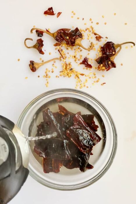 soak dried chiles in boiling water for 10 minutes to rehydrate