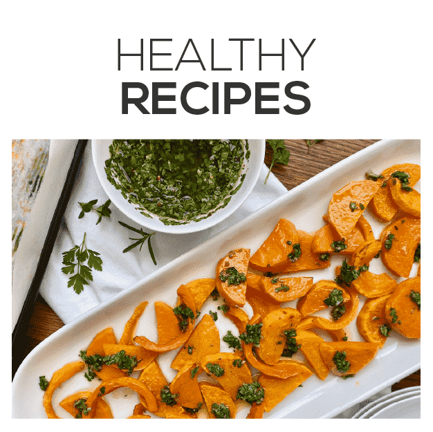 healthy recipes link with image of roasted butternut squash served with rosemary chimichurri