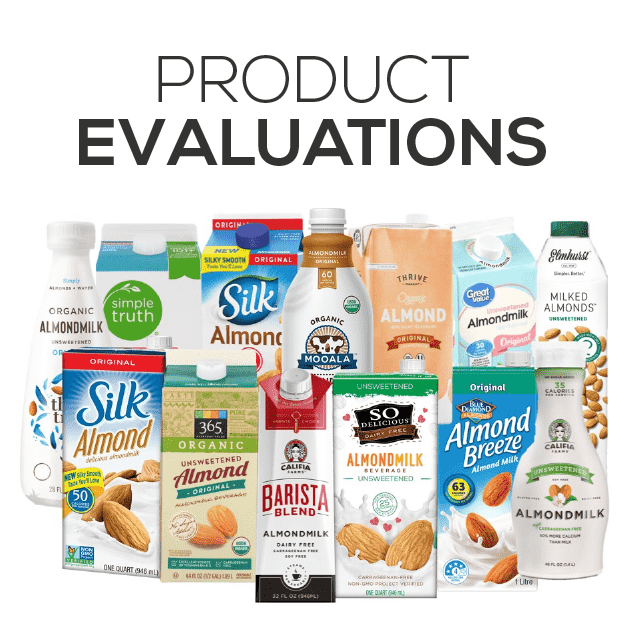 Feed Them Wisely Product Evaluations Image with many containers of almondmilk