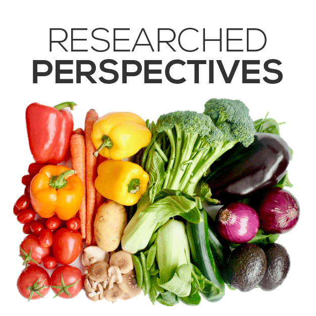 Feed Them Wisely Researched Perspectives Image with Multiple Vegetables Arranged like a Rainbow