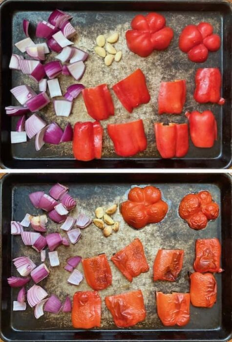 red bell peppers, red onion and garlic on a baking sheet before and after roasting for mild harissa paste