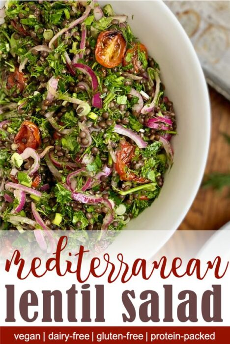 Pinterest image for herby vegan lentil salad.This herby lentil salad is a great make-ahead salad for busy summer nights. Nutrient-dense black lentils are combined with fresh herbs, tangy roasted tomatoes and pickled red onion. This hearty lentil salad is gluten-free, dairy-free, and vegan.