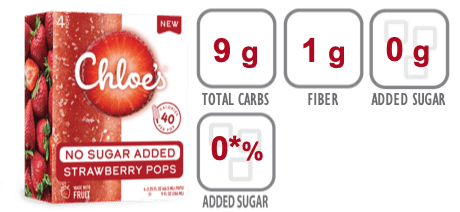 Chloe's No Sugar Added Strawberry Pops nutritional information