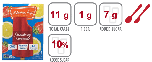 Modern Pop Strawberry Lemonade popsicle nutrition information