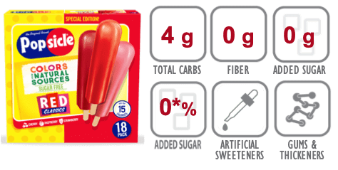Popsicle Red Classics Strawberry nutritional information