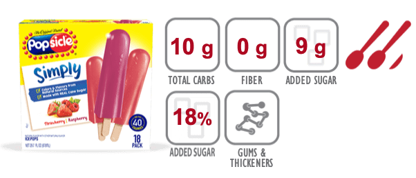 Popsicle Simply Strawberry nutritional information