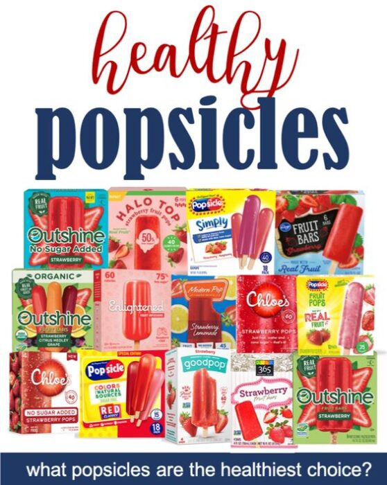 Pinterest image of popular strawberry popsicles packages.  Pinterest image of article evaluating healthiest store-bought popsicles