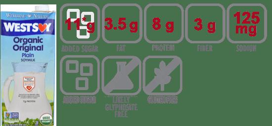 west soy organic soymilk original nutritional information